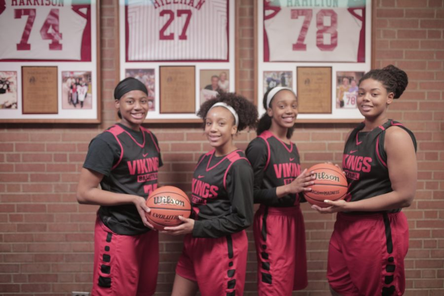 from left to right) Junior Monique Pruitt, senior Finess Dickson, junior Aireal Dickson, and senior Michelle Pruitt pose for a picture. The Vikings are the No. 2 ranked team in the state and are ranked No. 20 nationally by ESPN.