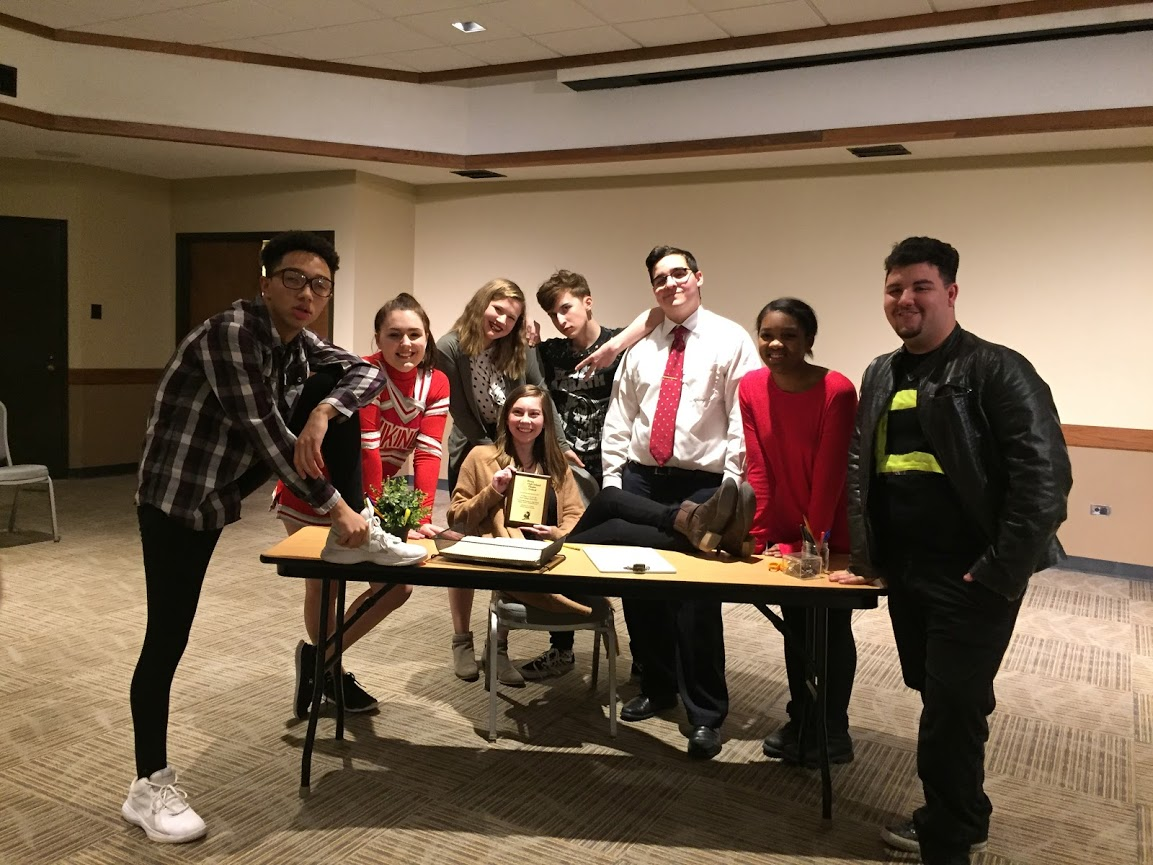 Student director Margaret Sullivan was given a plaque for her show 14 Ways to Screw up a College Interview at Illinois High School Theatre Festival. Margaret Sullivan is also the first student in HF who has taken a show to theatre fest.