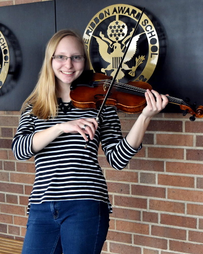 Planning for the future:  Senior Allie Mangel is graduating H-F with a perfect ACT score. Mangel is going to double-major in both music and mathematics.