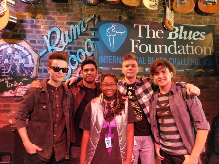 Young Success (L-R) Adem Dalipi, Donovan Lawnicki, Stacy Norris, Grady Caplin, and Aval Stanley Zaucha of the Instinct. The band met at the Fernando Jones Blues Camp in Chicago in 2016.