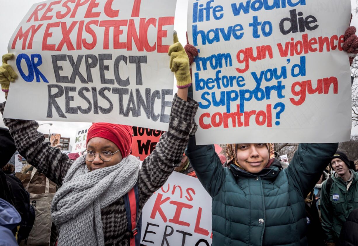 Right to protest: Seniors Gabi Bello and Noor Ryan at the Chicago March For Our Lives rally  on March 24. The main event in Washington D.C. was the largest single-day protest in the history of the nation's capital.