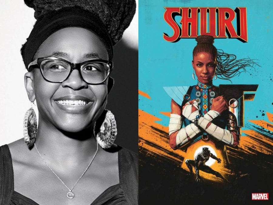 Powerful women: Alumna Nnedi Okorafor (left) and one of the covers of the Shuri comic book series (right). Shuri, the tech genius little sister of T'Challa, will be at the center of this series and will have to step into a a larger role — leading Wakanda.