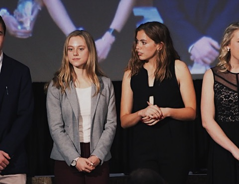 Major success: Josie Bachus (left) and Nora Ryan (right) at the Women's Press Association video contest. VTV starts preparing to enter videos into competitions starting in February.