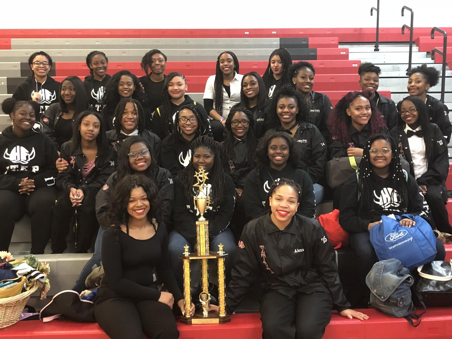 Champions!:  The H-F Step team posing for a picture as they win the 2018 USA Youth step championship. They received a grand prize of 4,000 dollars.