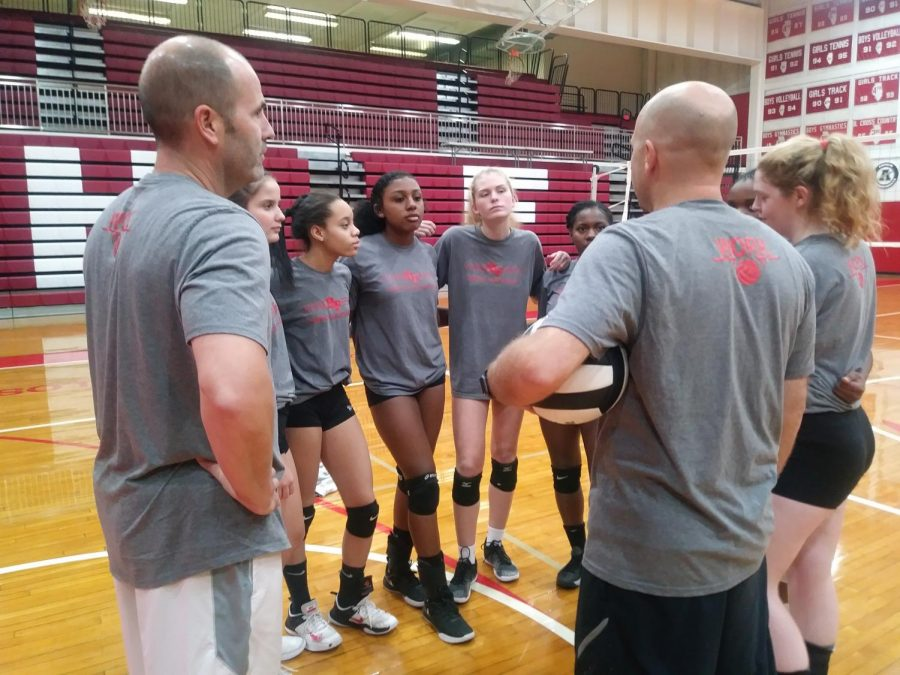 The girls varsity volleyball team meets in the south gym for practice on Tuesday. The team finished the season 23-11.