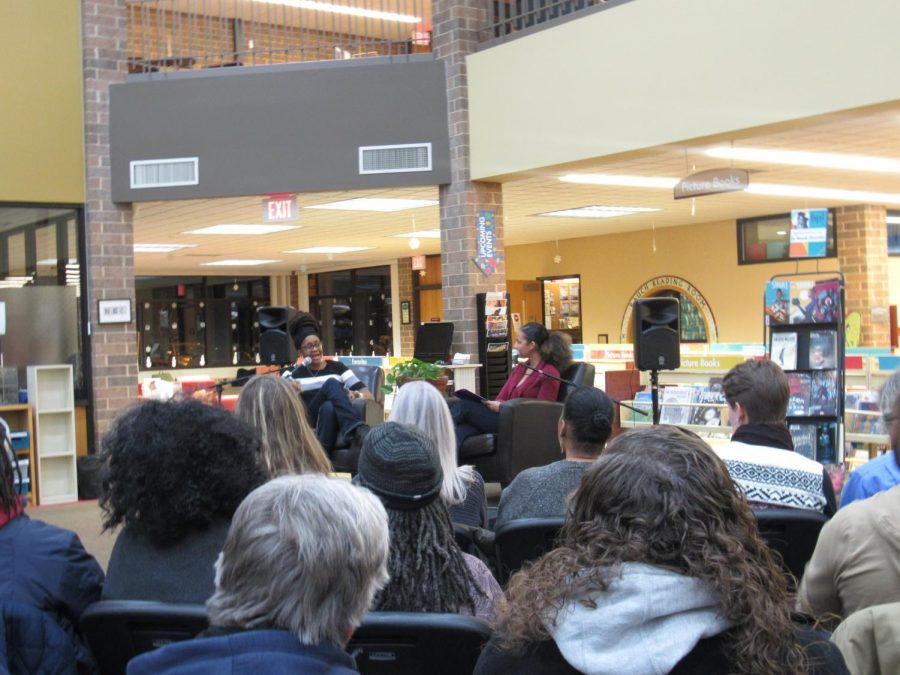 An+inspiration%3A+Dr.+Nnedi+Okorafor+%28left%29+being+interviewed+by+librarian+Kelly+Campos+on+Jan.+11+at+the+Homewood+Library.+Parents%2C+students+and+community+members+alike+attended+the+event.%0A