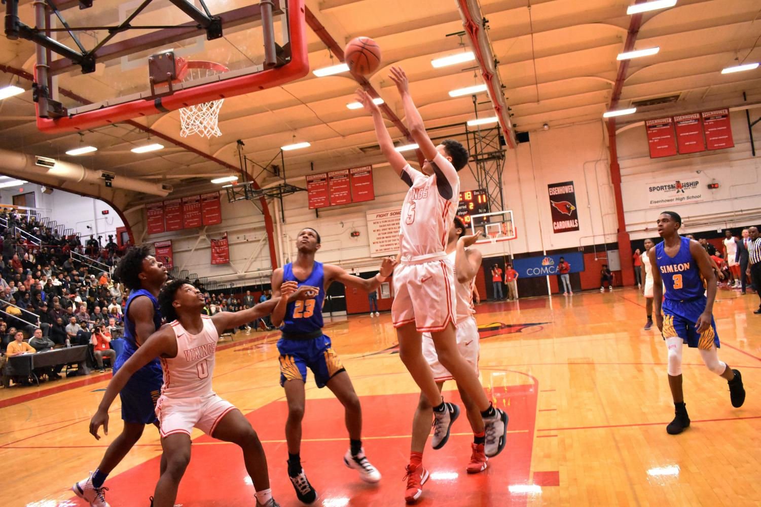 More than a shooter             Senior guard Trace Williams goes up for a layup during H-F's loss against Simeon in the Class 4A Eisenhower Sectional championship. Williams chipped in 12 points.
