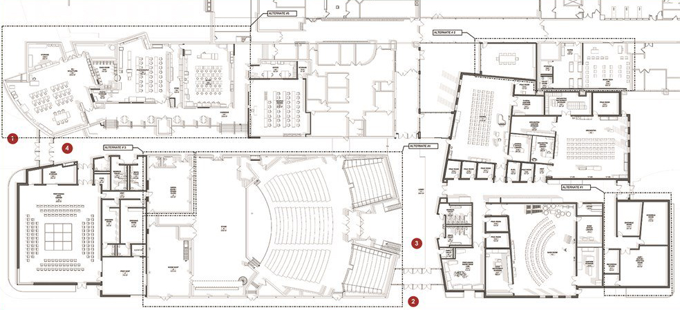New additions: This is the blueprint for the expansion in the South building. The areas in bold represent the new additions to the Fine Arts department.