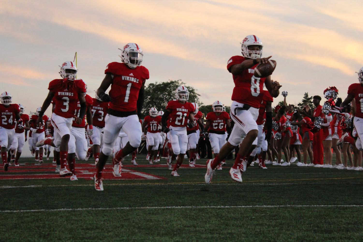H-F makes their entrance in their homecoming game against Andrew. The Vikings went on to defeat the Thunderbolts 35-14