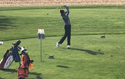 Junior Quinn Henry takes a swing at the State Finals in Bloomington last Saturday. He scored an 87 to finish a season to remember.