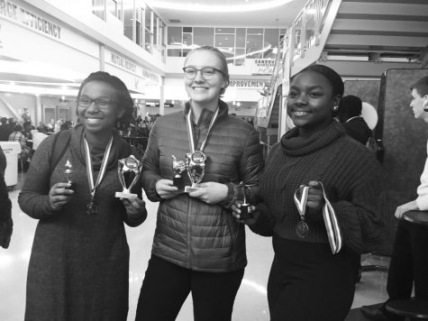 Debate champions from 2019 (From left to right): 2020 graduate Alexandria Porter, senior Evelyn Middleton, and senior Nandi Smith.
