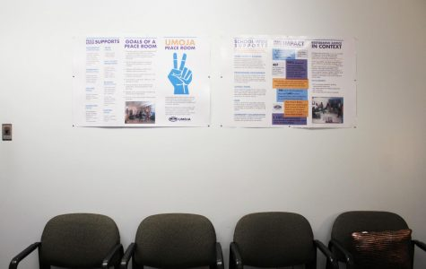 All are welcome: Part of the peace room which is located in the deans office in North building. The administration hopes to expand restorative justice practices starting next school year.
