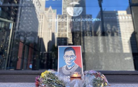 A vigil honoring the late Ruth Bader Ginsburg outside of the Dirksen Federal Building downtown Chicago on Sept. 19.