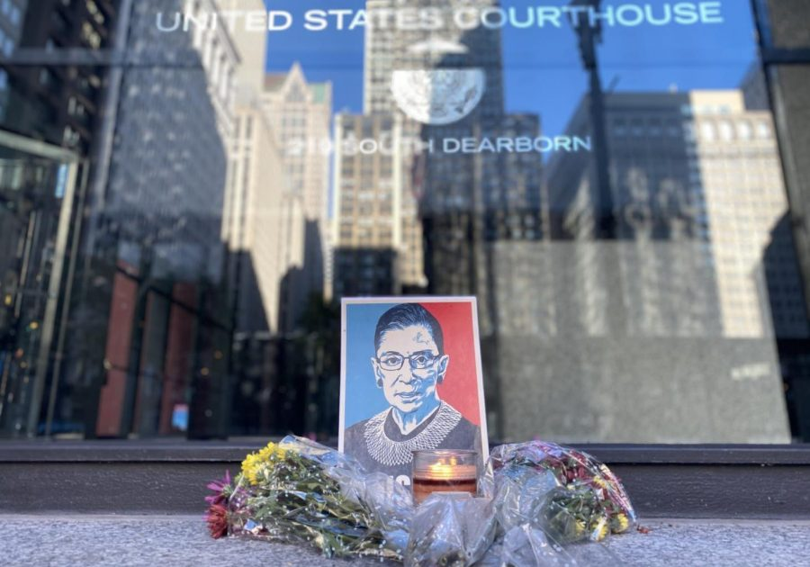 A+vigil+honoring+the+late+Ruth+Bader+Ginsburg+outside+of+the+Dirksen+Federal+Building+downtown+Chicago+on+Sept.+19.+