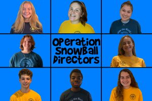 From the top left senior Lily Bosch, senior Emma Murphy, senior Anna Keigher, senior Jack Calomino, senior Leah Noble, senior Jack Prokop, senior Sam Ayodiran and senior Ella Ermshler are all teen directors for Operation Snowball this year.