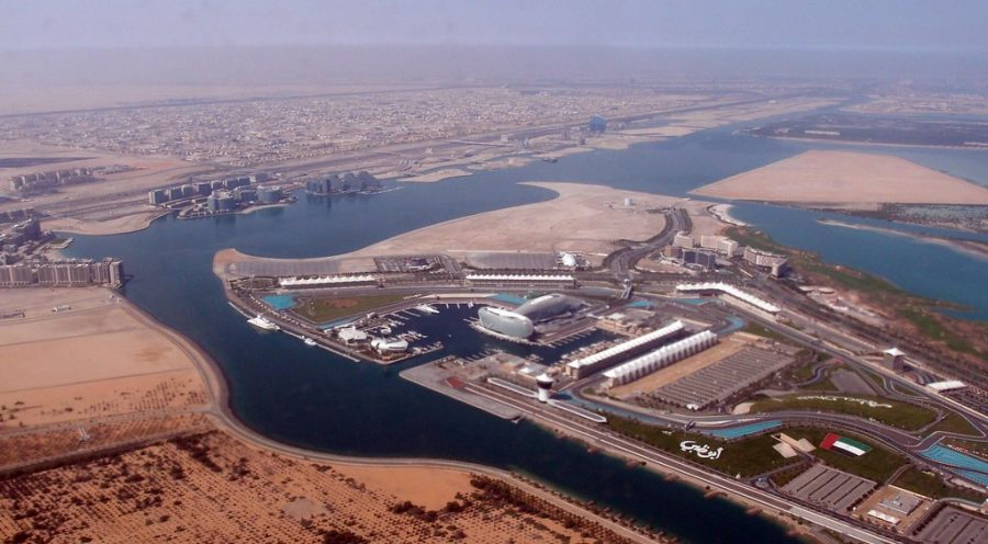 Aerial view of Yas Island, Abu Dhabi, home of the UFC and Fight Island.