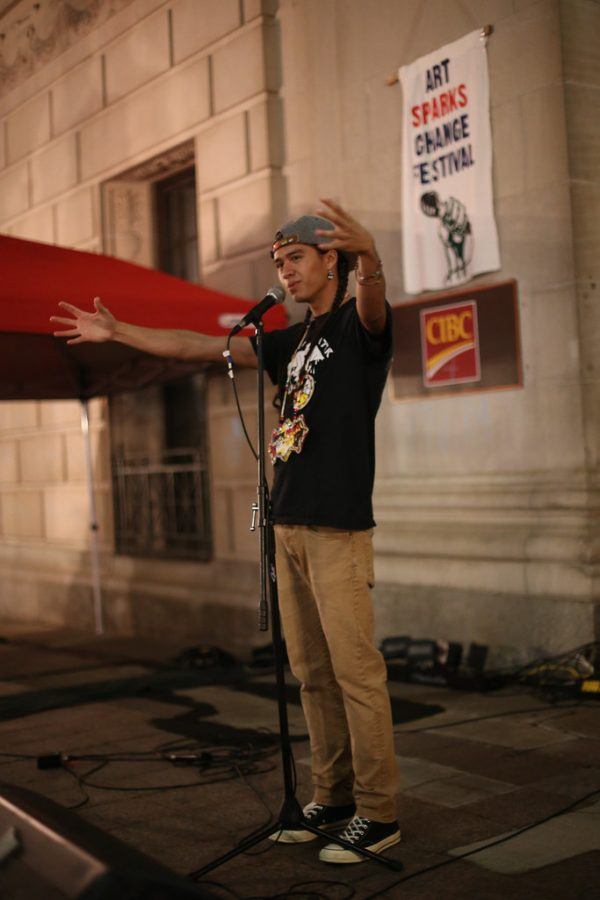 Frank Waln performs for the Peoples' Social Forum in 2014.