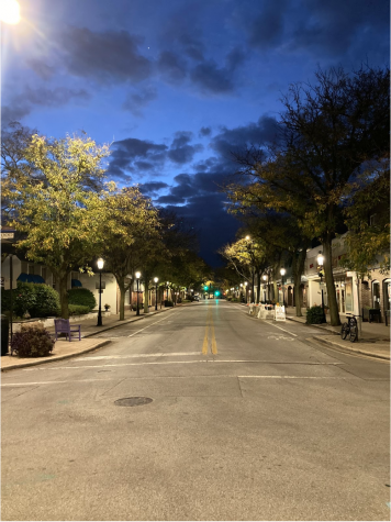 An early morning in downtown Homewood, well before the sun rises to the start of a new day.