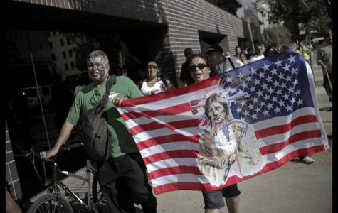 People protesting Columbus Day in 2011 during an Occupy Sacramento march.