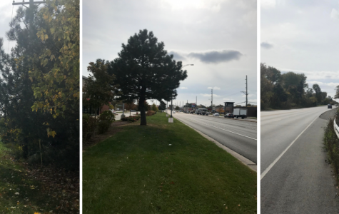 Sidewalk-less streets from left to right: Dixie Highway near Idlewild Country Club, Halsted near Krispy Kreme, and Governors Highway by Cherry Plaza