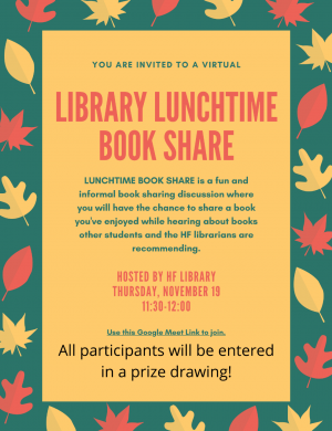 H-F Library Hosts Virtual Lunchtime Book Share