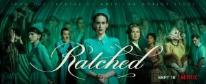 'Ratched' cast (from left to right): Finn Wittrock, Judy Davis, Jon Jon Briones, Sarah Paulson, Cynthia Nixon, Sophie Okonedo, Sharan Stone, and Charlie Carver