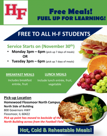 H-F has been distributing free meals to students twice a week. Each package includes enough food for two meals, breakfast and lunch, everyday for a week.