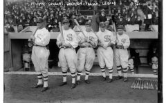Two of the eight members of Chicago White Sox - Joe Jackson (middle) and Happy Felsch (second to the far right) - who were banned for throwing the 1919 World Series.