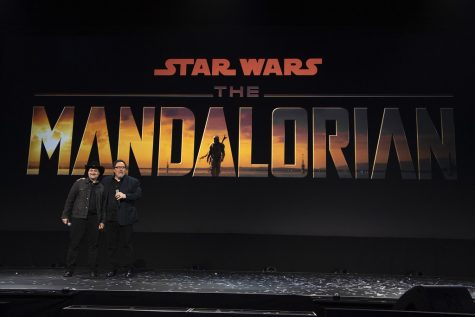 Dave Filoni and John Favreau at the Disney Global Press Day on October 19, 2019.