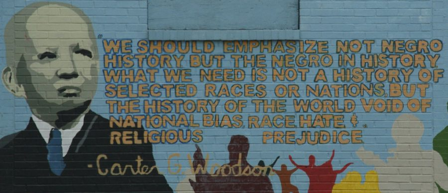 A mural in Washington, D.C honoring Carter G. Woodson, who was instrumental to the creation of Black History Month.