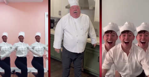 "Woods (left), Kevin Chamberlin (center) and JJ Nieman (right) performing ""Anyone Can Cook."" The musical is an adaptation of Disney animated film ""Ratatouille."""