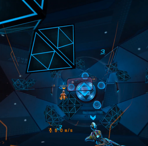 Screenshot of Echo Arena.  In this photo, players are rushing towards the disk. The blue players are trying to send it away and the orange players are trying to get it into the goal.