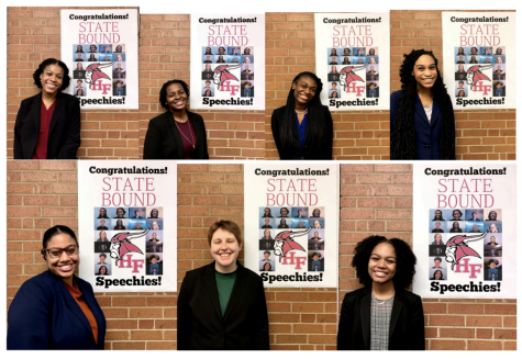 Seven of the state bound speech team members. The team competed at the state competition on Feb. 19 and 20.