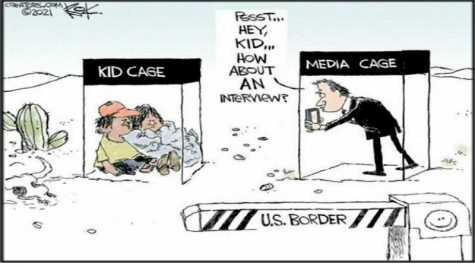 In the illustration above the media is shown harassing young kids in a immigration cage.  Emphasizing how the news only cares about the story not the people involved with the story.