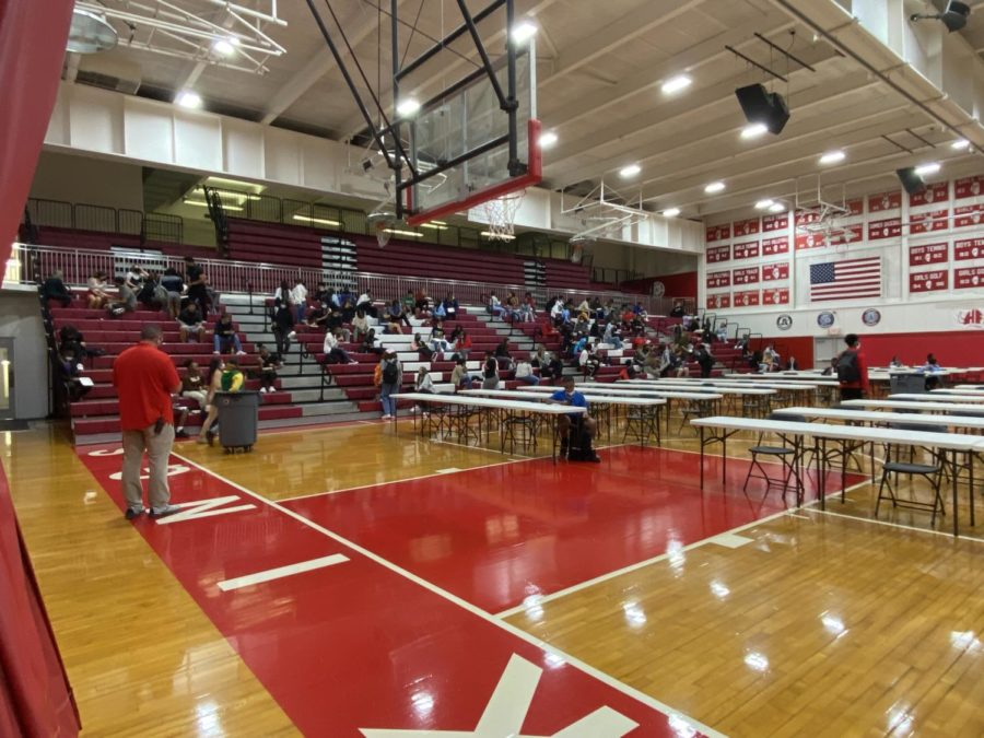 The south gymnasium during the A lunch period. Photo courtesy Kayla Jackson
