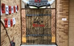 Viking Compass Class Participating in Homecoming Door Decoration