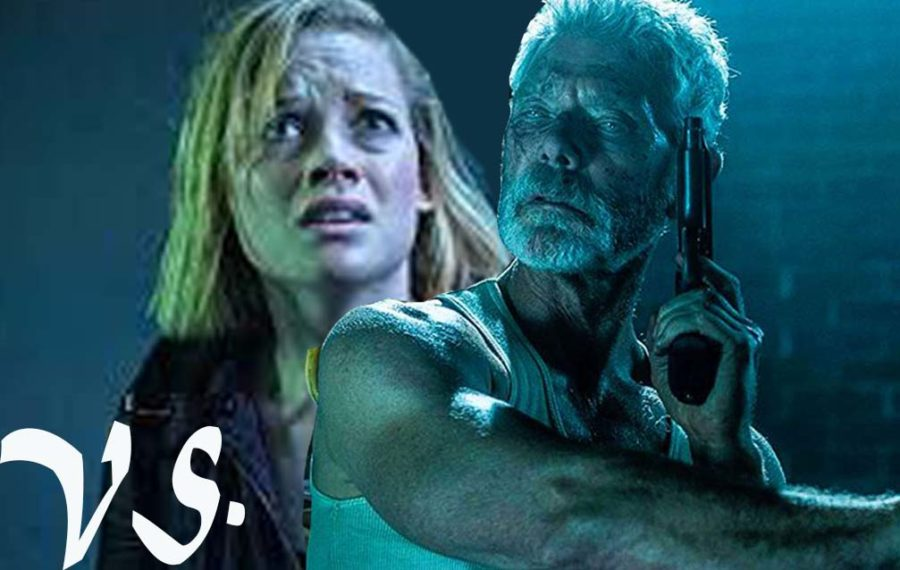 Scene from Dont Breathe(left) and scene from Dont Breathe 2(right).