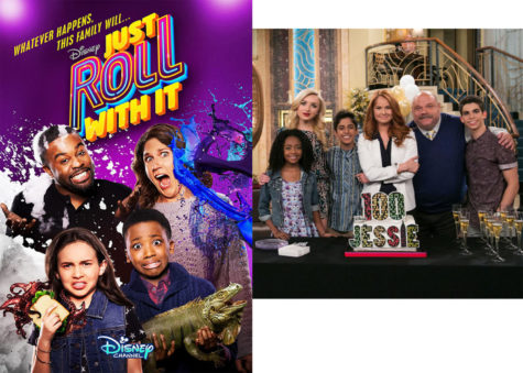One of the recent shows Just Roll With It(on the left).The cast of Jessie are celebrating the shows 100th episode.