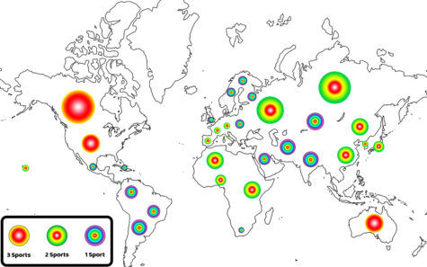 A heat map of international countries represented in U.S. sports.
