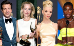 Michaela Coel, Anya Taylor-Joy, Jason Sudeikis and Kate Winslet pictured with their Emmy wins.